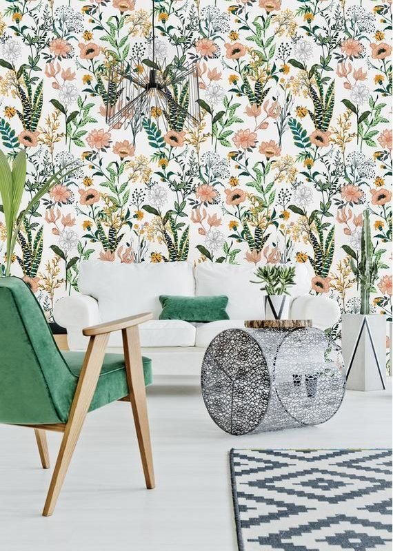 Margarito Removable Beautiful Floral 8 33 L X 25 W Peel And Stick Wallpaper Roll Peel And Stick Wallpaper Removable Wallpaper Wallpaper Roll