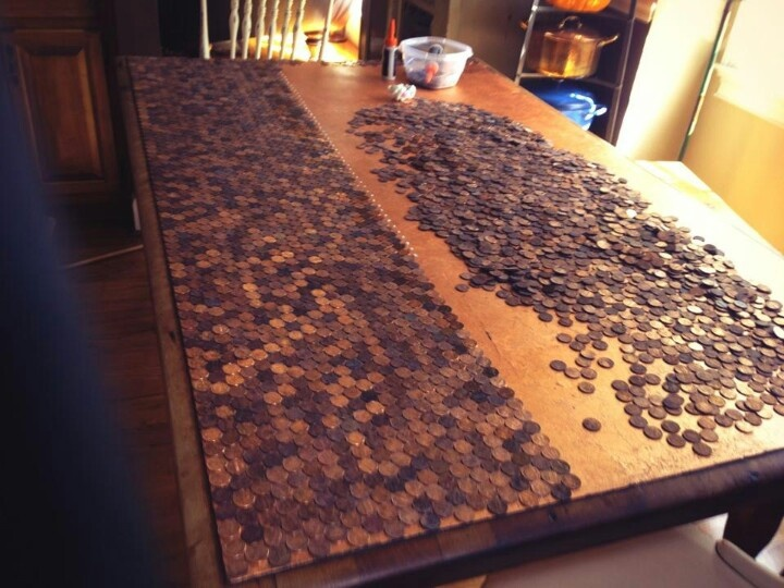 Comedian Anita Renfroe Gluing Pennies To Resurface Table