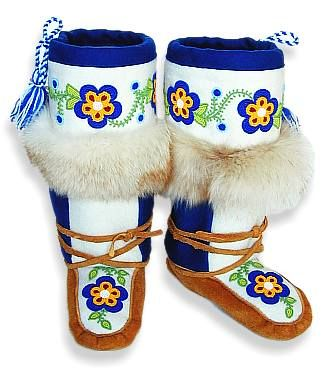 Mukluks with beading around the top as well as on vamp