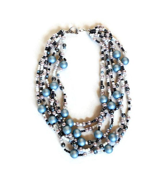 Save 15% with coupon PIN15. Chunky pearl necklace Multi strand pearl by BeadsAndKnotsByNina