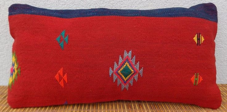 12x24'' Turque Kilim Coussin,Tribal Red Kilim Lumbar Pillow Cover,30x60  Cushion #Handmade #AsianOriental