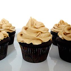 Dark Chocolate Cupcakes with a Smooth and Fluffy Peanut Butter Frosting. These cupcakes are rich and moist with a light fluffy texture and are made using the same type of method used for making brownies. To make the swirls of icing, use a 1M icing tip. I just love the look that it gives the cupcakes. It reminds me of a soft serve ice cream cone.
