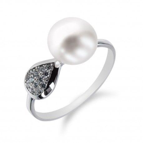 Stylový stříbrný prsten s perlou a zirkony