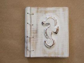 Unusual Wooden Notebook with Bamboo Pulp Paper features a Seahorse in Whitewash. This notebook is a great way to show off your beach house style!