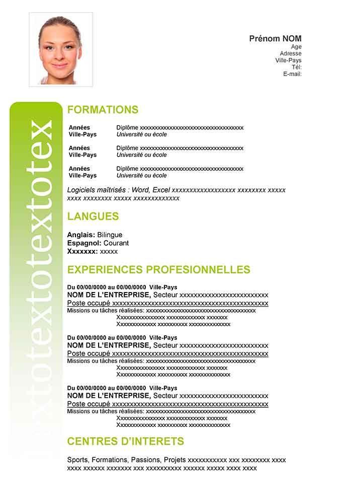 Cv Word Gratuit A Telecharger Modele Cv Cv Gratuit Exemple Cv