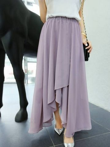 Korean Purple Asymmetrical Hem Pure Color Chiffon Long Skirt