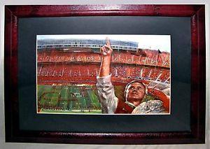 "Ohio State Buckeyes Art Print Jim Tressel w National Championship Trophy 23.5"""