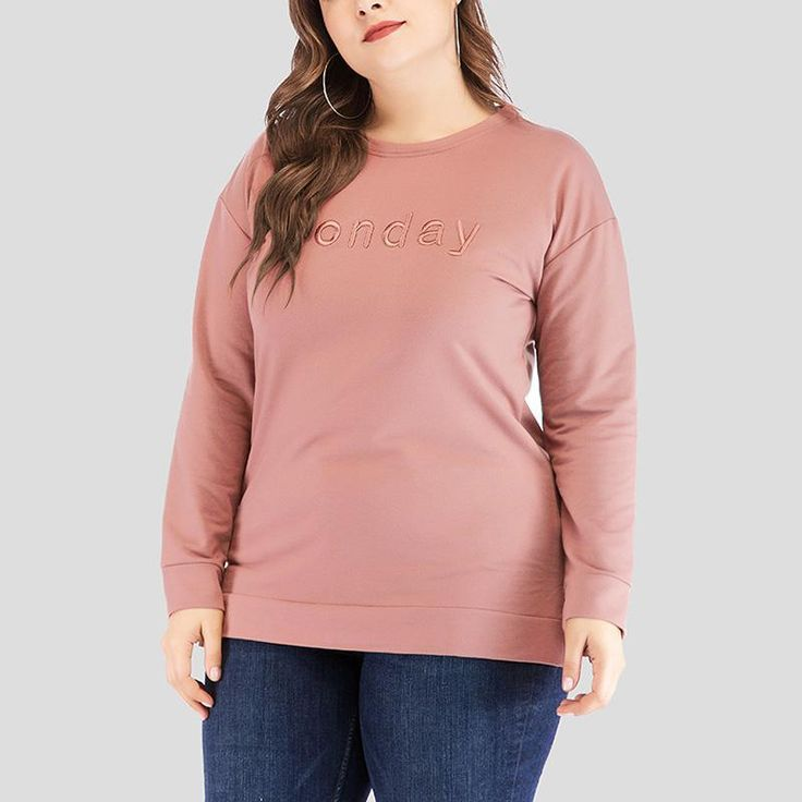 Fashion Loose Plus Size Inwrought Pure Colour Round Neck Casual T-Shirt
