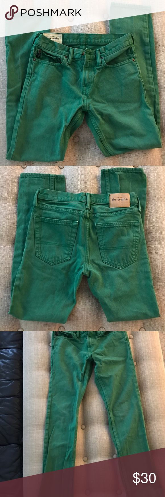 Abercrombie Girls Green Jeans Size 14 Abercrombie Girls Green Jeans. Size 14. Good used condition. Some fading from washing. See also slight flaw in crotch. Abercombie Kids Bottoms Jeans