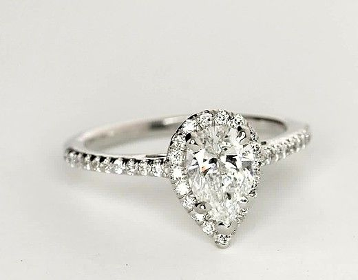 0.93 Carat Diamond Pear Shaped Halo Diamond Engagement Ring   Recently Purchased   Blue Nile