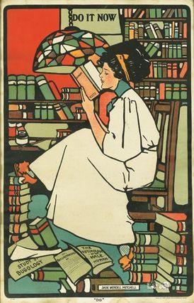 """Dig"", de 1909, por Sadie Wendell Mitchell.  Parte do artista ""Girls Will Be Girls"" série do cartaz."