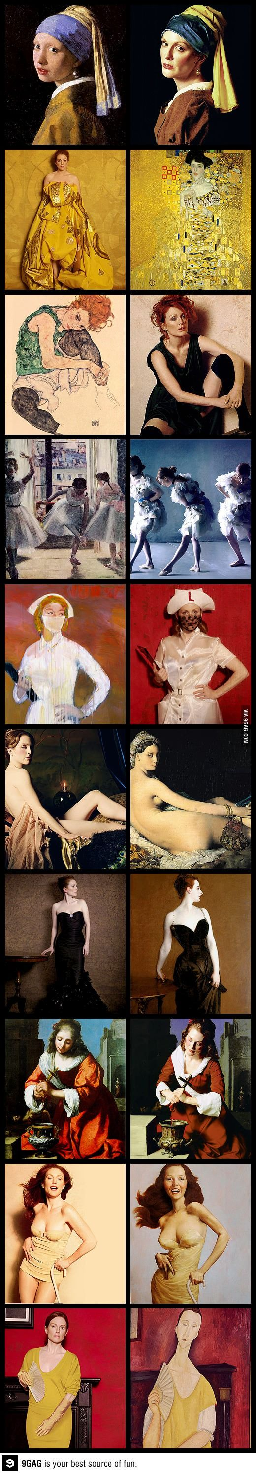 Julianne Moore recreating famous works of art