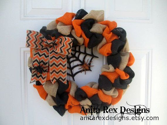 Halloween Wreath, Halloween Burlap Wreath, Spider, Halloween Decor