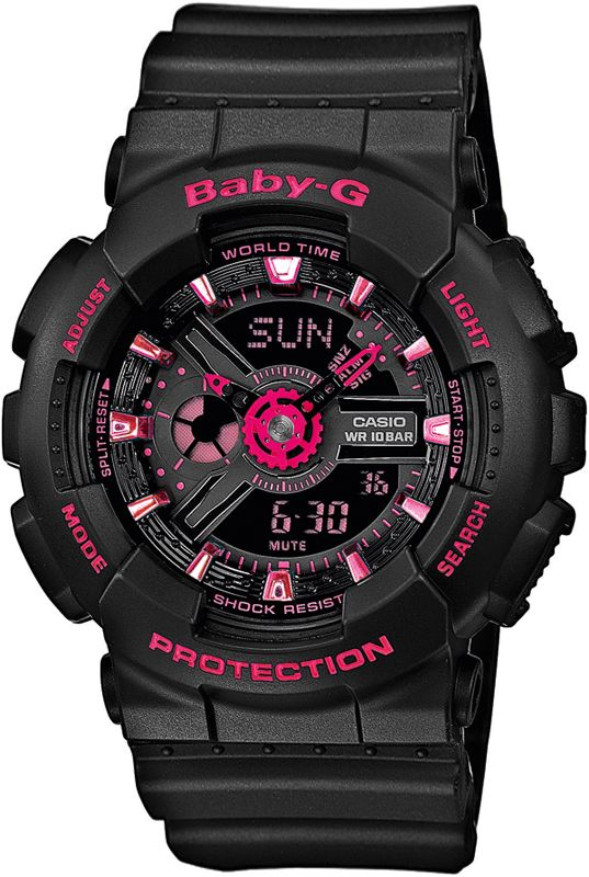 G-Shock Baby-G BA-111-1AER / BA-111-1A, G-Shock Black & Pink Ladies G-Shock Watch for women