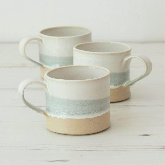 Taza de cerámica hecha a mano, taza de cerámica, esmalte gris y blanco, base sin esmaltar, café, taza de té, regalo hecho a mano, regalo de inauguración de la casa, cocina, comedor