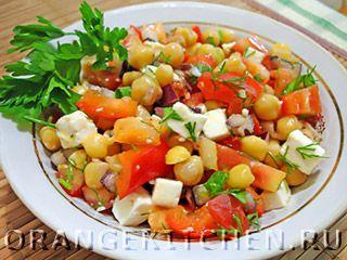 Рецепт овощного салата с брынзой и нутом