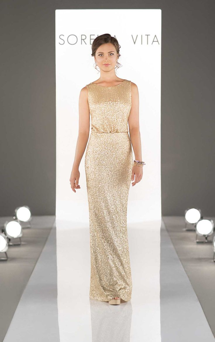 This blouson bodice sequin bridesmaid dress is a floor-length gownfeaturing keyhole back. Also available in cocktail length, let your bridesmaids shine in