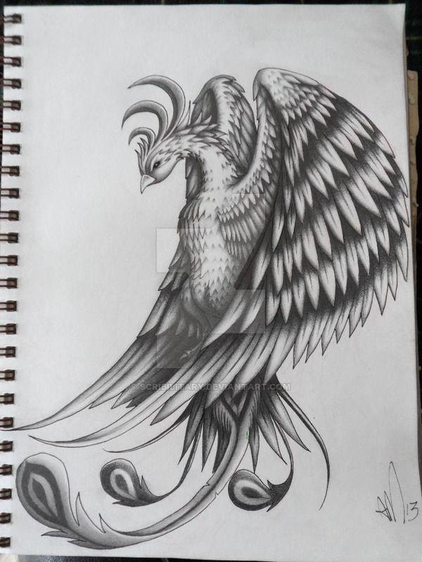 Diseño del tatuaje de Pheonix por scribilitary