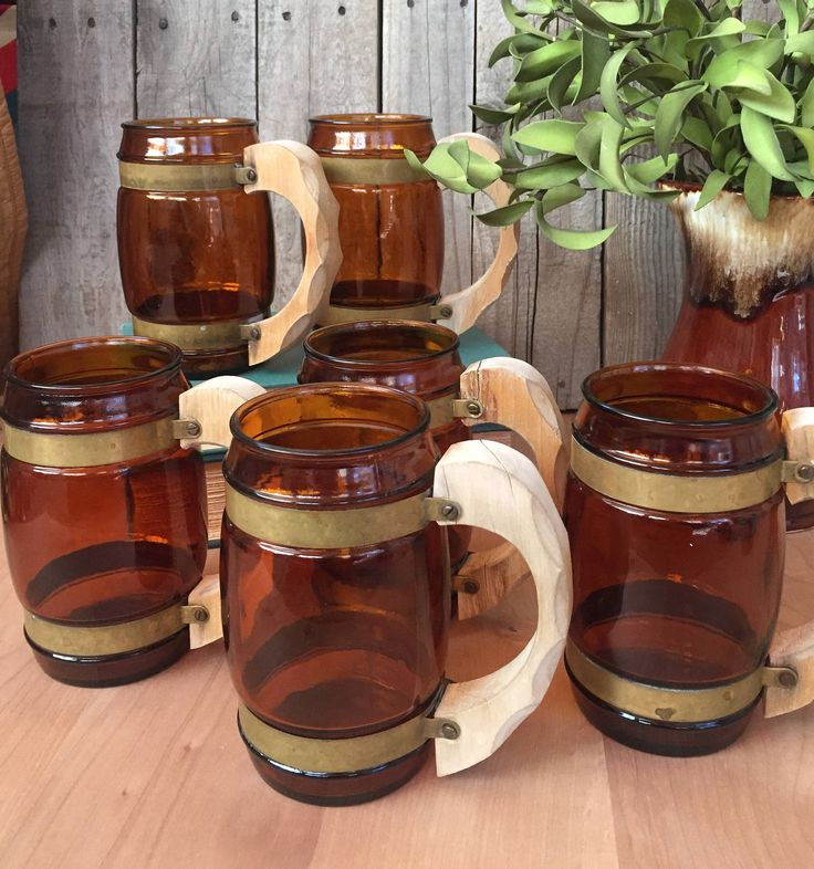 Set of 6 vintage, Siesta Ware mugs, amber brown drinking glasses, beer mugs, rustic, boho, retro tumblers, wooden handles, by Atatteredtulip on Etsy