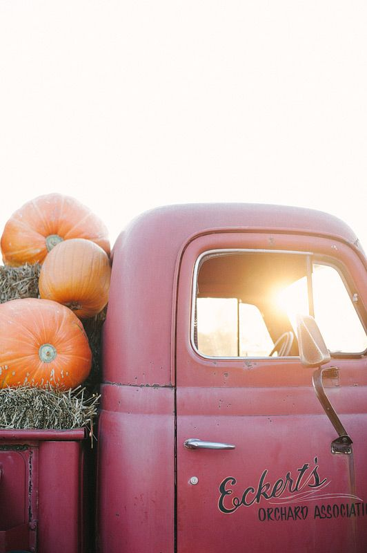 Truck full of straw and pumpkins