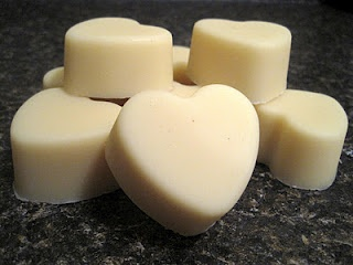 Lotion Bars: equal parts: beeswax, shea butter, carrier oil of choice sweet almond oil, coconut oil, apricot oil, etc) 3 oz or about 1/2 c each -15 drops of essential oil of choice