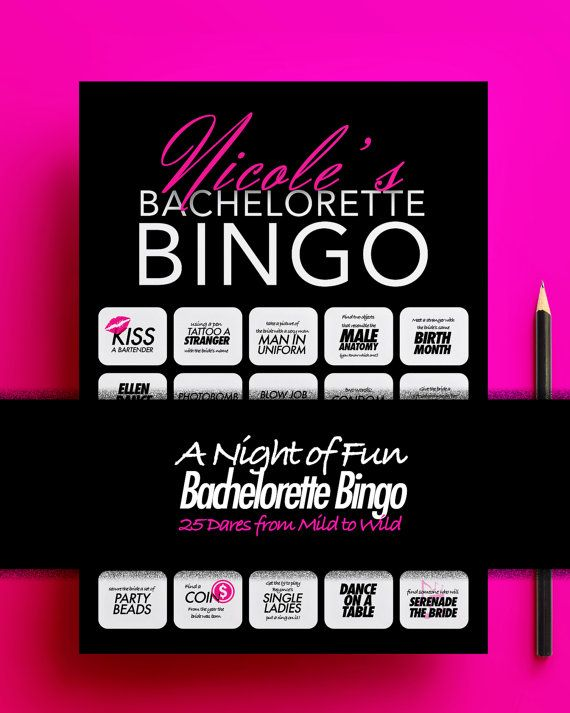Personalized Bachelorette Bingo Party Game A By StyleScoutDesign