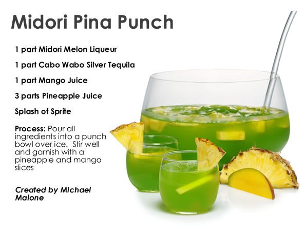 Midori pina punch recipes i will actually try for Green alcoholic drinks recipes