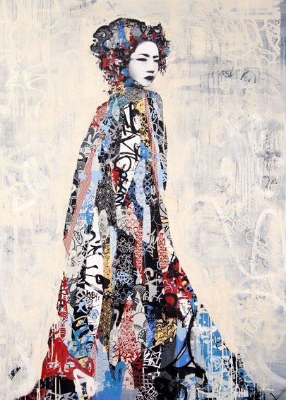 Hush, Twin Light II, 2011, acrylic paint, screen print, spray paint, ink