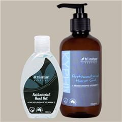 #AntiBacterial Hand Gel. Travel size or 250mL pump pack. Keep it in your glove box and your cupboard for when you have no where to wash your hands. Sugar can derived alcohol is used as the drying agent and it's LOADED with vitamin E so it won't strip your hands!