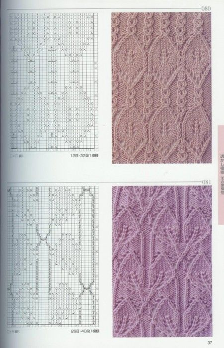 two more intricate charted knitting patterns