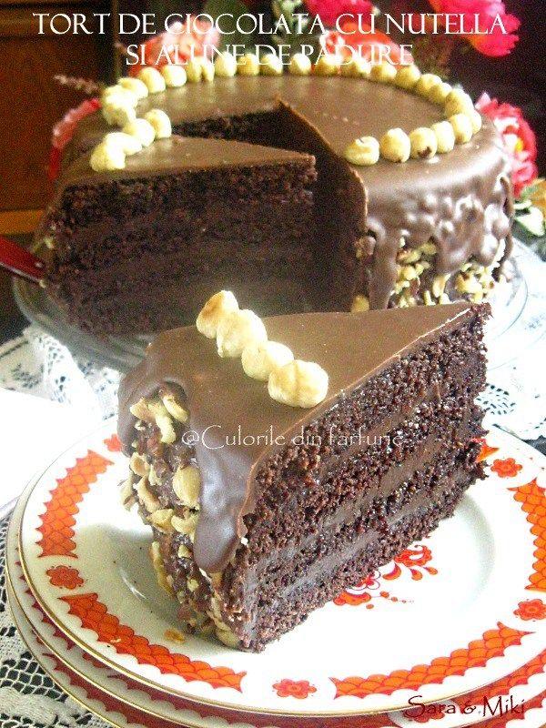 Tort de ciocolata cu nutella si alune de padure, un tort decadent pe gustul iubitorilor de ciocolata.