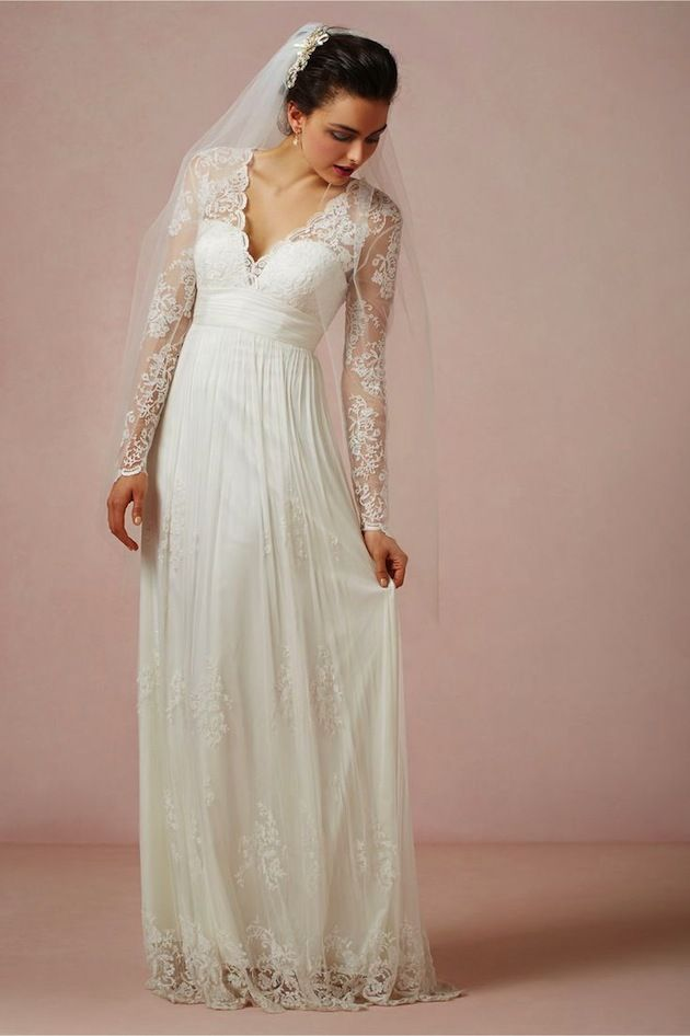 Matural v neck long sleeves empire waist floor length lace for Long veil wedding dresses