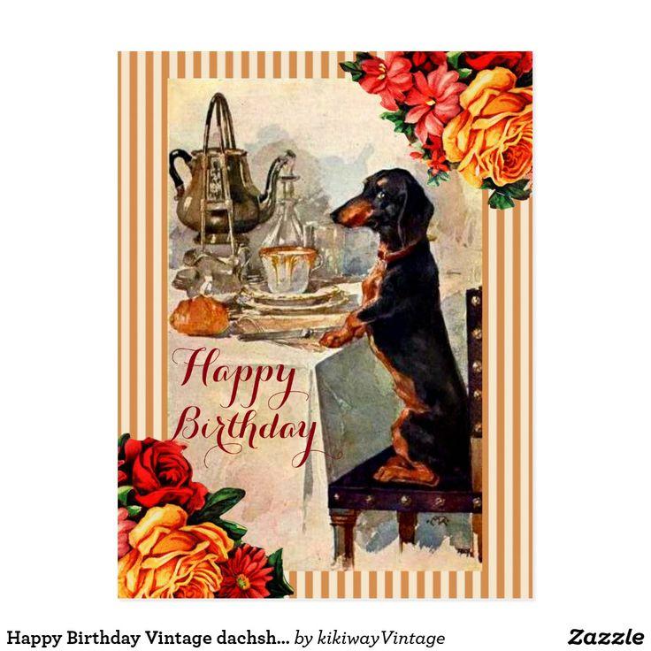 Happy Birthday Vintage Dachshund Tea Party Postcard