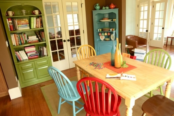 I like the idea of different colored dining room chairs