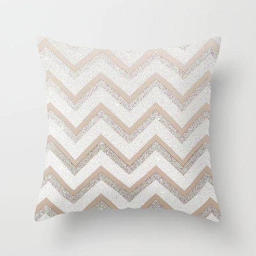 NUDE CHEVRON Throw Pillow by Monika Strigel $ 20  #nude #chevron #silver #sparkles #glitter #pillow