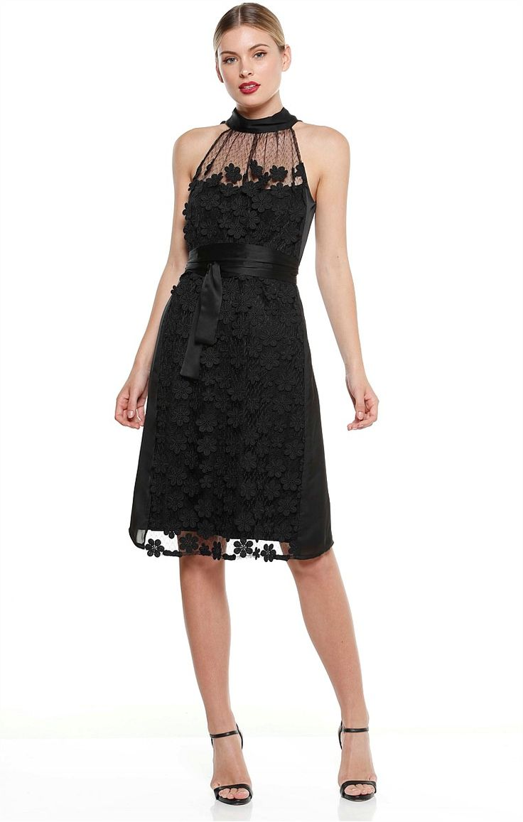 Villa Igiea High Neck Lace Mesh Dress with Black Flowers