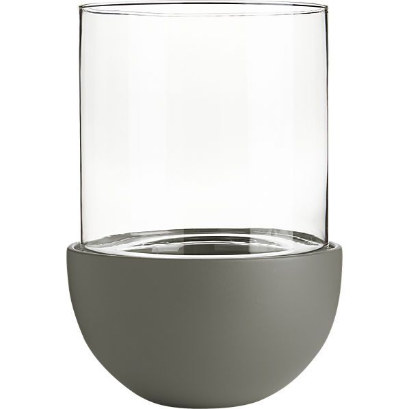 glass-ceramic large grey lantern  | CB2