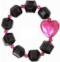 Tarina Tarantino Kiss Me Lucite Puff Heart Bracelet, Black