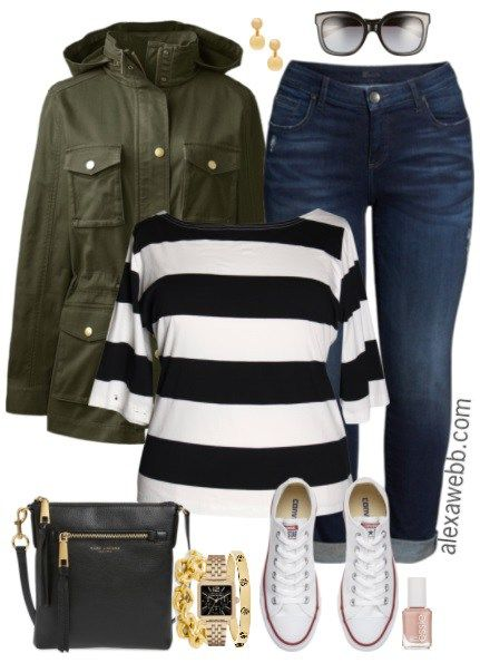 Plus Size Stripe Top Outfit - Plus Size Fall Outfit - Plus Size Fashion for Women - alexawebb.com #alexawebb