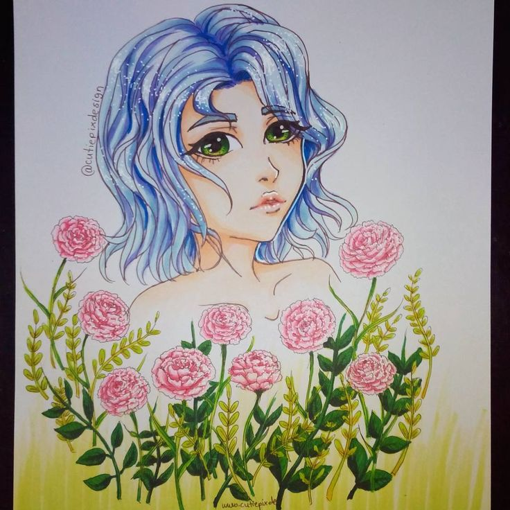 . Finaly done :) I hate to draw flowers xD but it looks much better with them xD I draw in a bit other style... Hope you like it . I draw it with my new #copicmarkers :D I love them! . I lf you want that I draw a #fanart of someone (real, Walt Disney, anime, manga) just leave a comment ;) I will try my best! . ~~~~~~~~~~~~~~~~~~~~~~~~~ #cutiepix #cutiepixdesign #animegirl  #animedraw #animedrawing #animedoodle #1mlnfeatureday #animelips  #animeflower #mangagirl #mangadraw #mangadrawing…