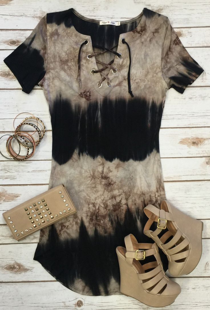 The It's Only the Beginning Tunic Dress is a gorgeous tie dye beauty! With short sleeves, lace up front, and stretchy fabric, you will love the fit of this one! (www.privityboutique.com) #tiedye #tunic #tie #comfy #stretchy #fitted #loveit