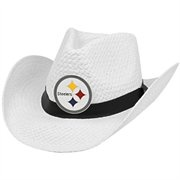 Pittsburgh Steelers Straw Cowboy Hat - White