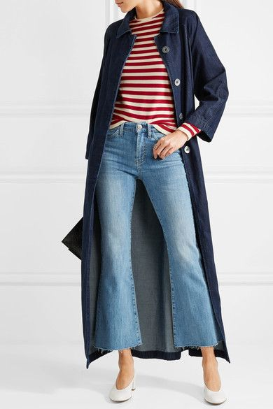 M.i.h Jeans - Belted Embroidered Denim Coat - Dark denim