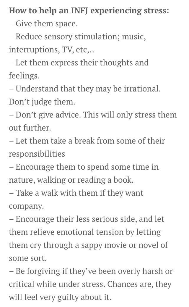 INFJ and stress- super guilty...which is why we'd rather tolerate as much as possible...And we're good at it.