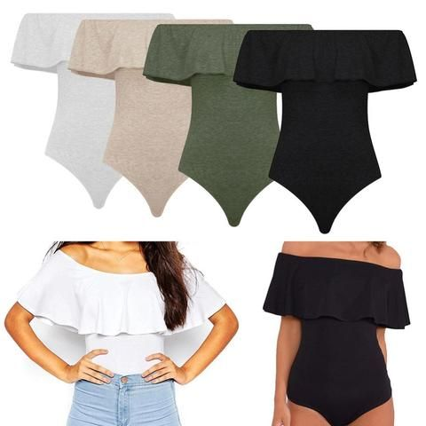 01. Off Shoulder Backless  Women Bodysuit Crop Top
