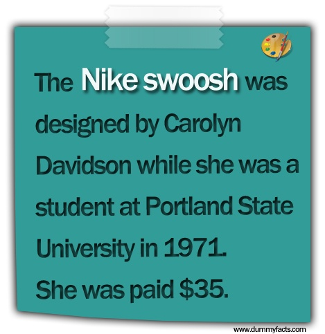 http://www.dummyfacts.com/the-nike-swoosh-was-designed-by-carolyn-davidson-while-she-was-a-student-at-portland-state-university-in1971-she-was-paid-35/