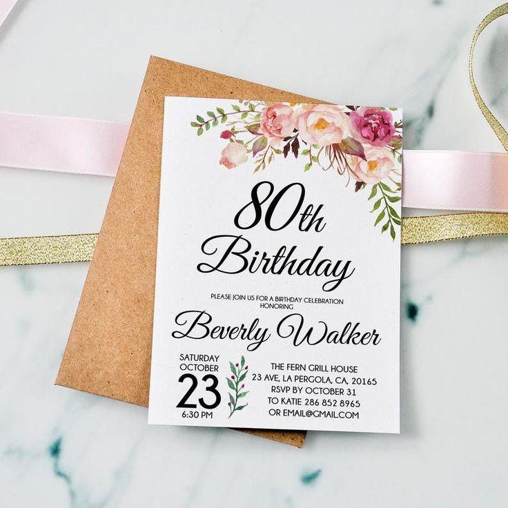 80th Birthday Invitation Floral Women Birthday Invitation