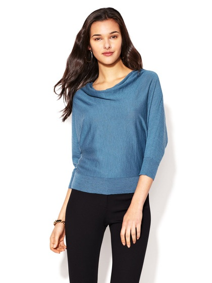 Superfine Wool Crepe Draped Sweater by Eileen Fisher on Gilt.com