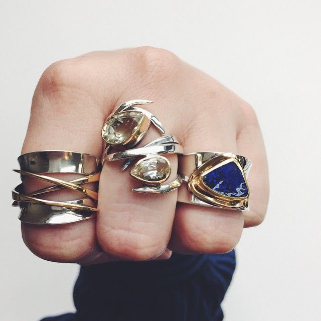 The #spring15 #southerntrunkshowtour kicks off this week and we have lots of new #rings for you! #margaretellisjewelry #mellisjewelry #sunstone #boulderopal #mixedmetals #silverandgold #handparty