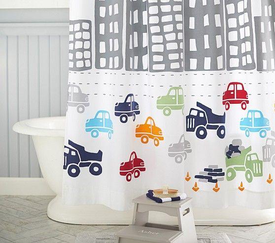 Transportation Shower Curtain. #potterybarnkids #spring2014